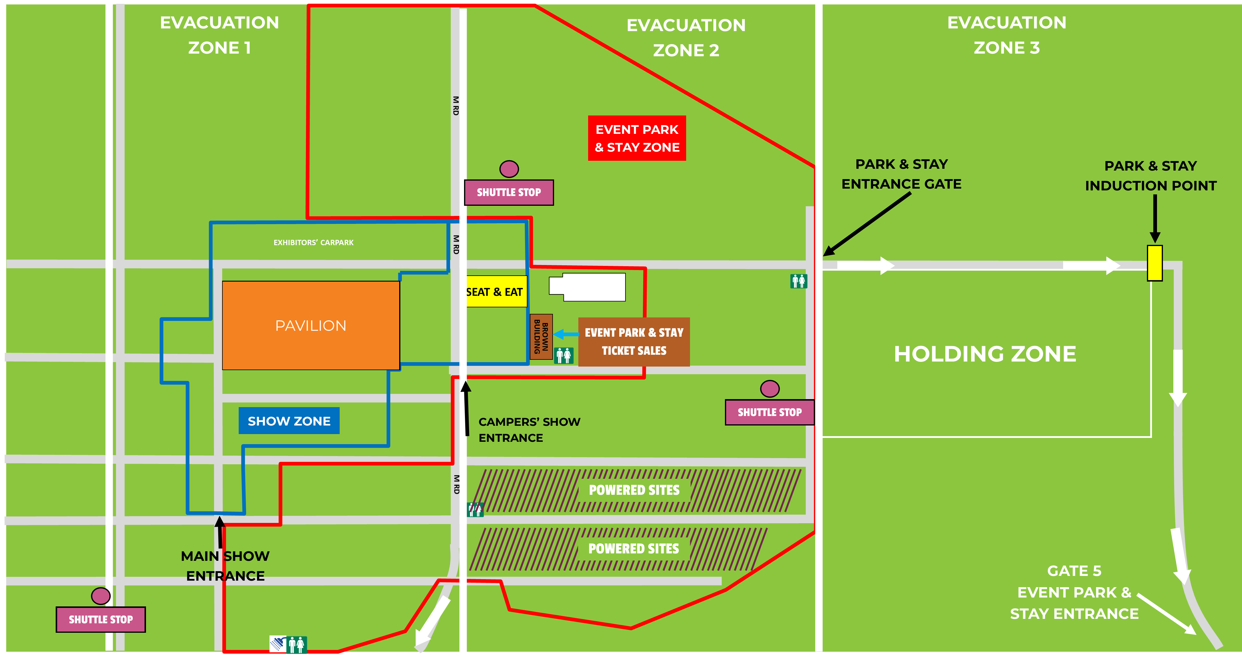 Event Park & Stay Overview with Evacuation Info